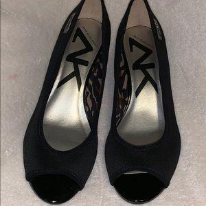 Anne Klein  black peep toe wedges 8.5 worn once